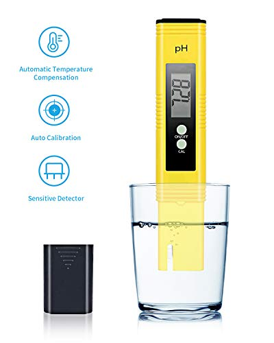pH Meter SPIE Digital pH Meter pH 0.01 Resolution Pen Size Water Quality Tester with LCD Display and ATC PH 0-14 Measurement Range for Household Drinking Water Aquarium Swimming Pools and Hydroponics