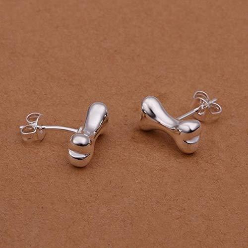 JY Pendientes de Oreja de Hueso con Pendientes Simples de Plata para Mujer/Acero Inoxidable/Hipoalergénico/Brillo Plateado/Peque?o Exquisito/Circonita Joyas de la novedad