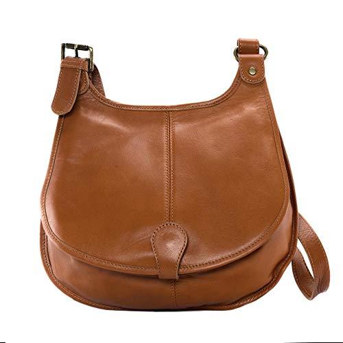 OH MY BAG Sac bandoulière Cuir bandoulière porté de travers femmes en véritable cuir fabriqué en Italie - modèle CARTOUCHIERE Marron cognac foncé