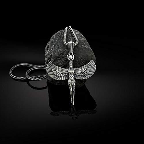 N/O Collar Diosas egipcias Diosas Egipto Antiguo Dios Figuras aladas Egipcias Collar Gargantilla Corta Collar