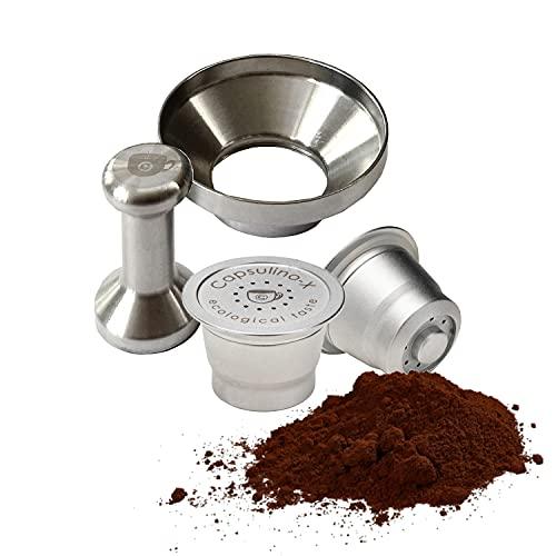 Cápsulas recargables compatibles con Nespresso, 2 cápsulas reutilizables para cafetera expreso, de acero inoxidable, con prensa y embudo incluidos, fabricadas en Italia