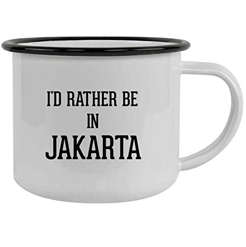 I'd Rather Be In JAKARTA - 12oz Stainless Steel Camping Mug, Black