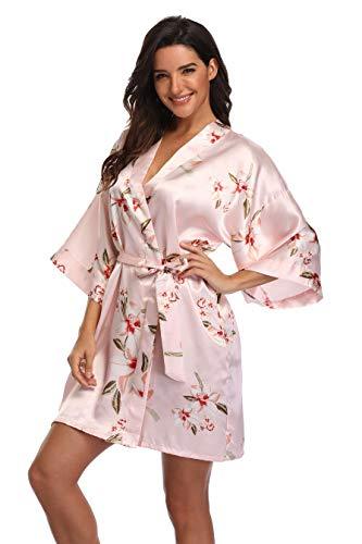 Women's Floral Satin Robes Short Silky Bridesmaid Robes Bride Getting Ready Robes Sleepwear