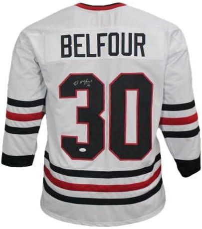 Arlington Mall Ed Belfour #30 Autographed White Pro CO Style Jersey Hockey Save money JSA