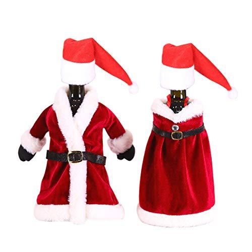 Novsix Vestido de botella de vino de Navidad y falda y mini sombrero de Papá Noel, botellas de vino, decoración para fiestas de vacaciones en el hogar