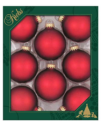 Christmas By Krebs Made in The USA Designer Seamless Glass Christmas Ball Ornaments, 2 5/8' (67mm), Red Velvet, 8 Pieces