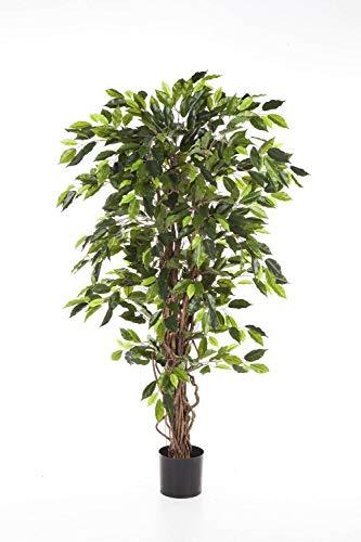 artplants.de Ficus Artificial JARLAN con 430 Hojas y Tronco con lianas, Verde, 120cm - árbol Decorativo - Planta Textil