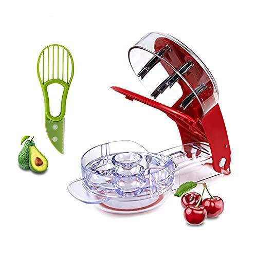 Haosens Kirschentkerner Oder Samenentferner, 6 Kirschentferner auf einmal / Avocado Schneider - Multifunktions-Obstkernentferner Küchenwerkzeug