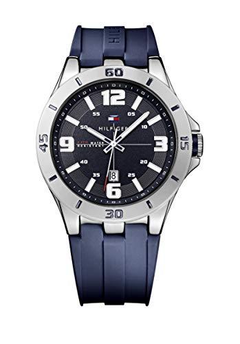 Tommy Hilfiger Relógio masculino 1791062 de aço inoxidável com pulseira de silicone azul