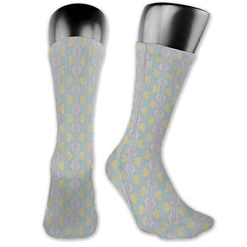 Papalikz Compression Medium Calf Socks,Retro Disco Style Semi-Circular Shapes And Diamond Figures