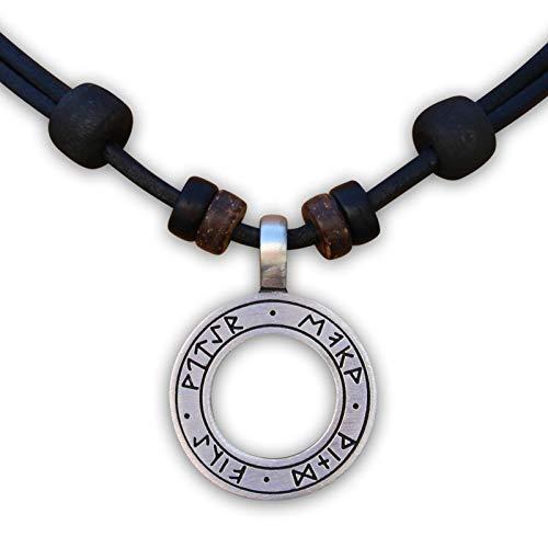 HANA LIMA ® Lederhalskette Halskette 4 Elemente Lederkette Wikinger Herren Damen Odin Thor