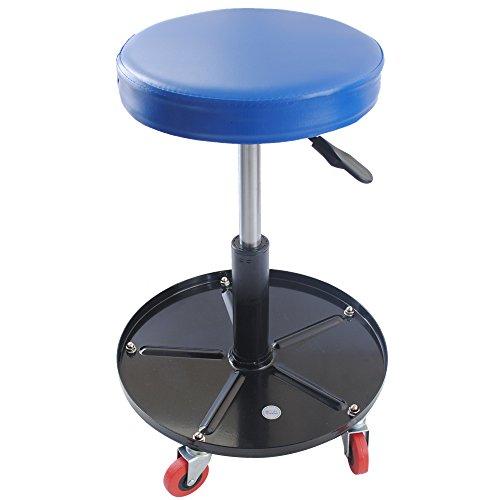 CCLIFE Höhenverstellbar Werkstattstuhl Werkstatthocker Werkstattsitz mit 5 Rollen | ø38, 5 cm | 1 Ablage | 390-520mm