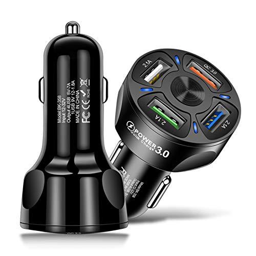 COLTD Cargador de coche, 4 puertos USB, LED, material ignífugo, cargador de coche de salida de corriente estable, para iPhone XR/Xs/Max/X/8/7/Plus, iPad Pro/Air 2/Mini, Galaxy, LG, HTC y más.