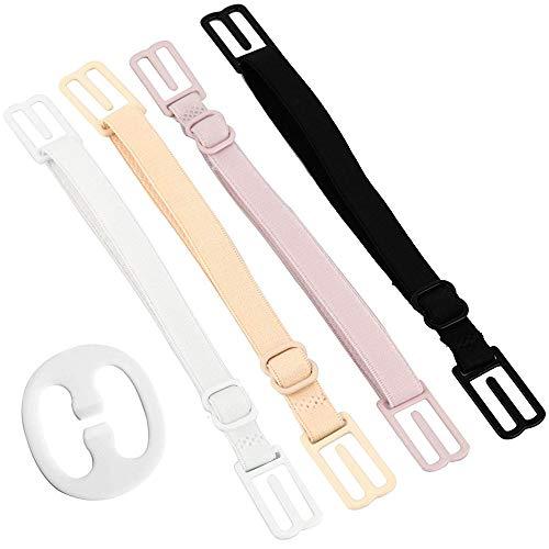 CAKYE Women's 5Pcs Non-slip Elastic Bra Strap Holder Clips (White+black+pink+complexion Straps+1 Clips)