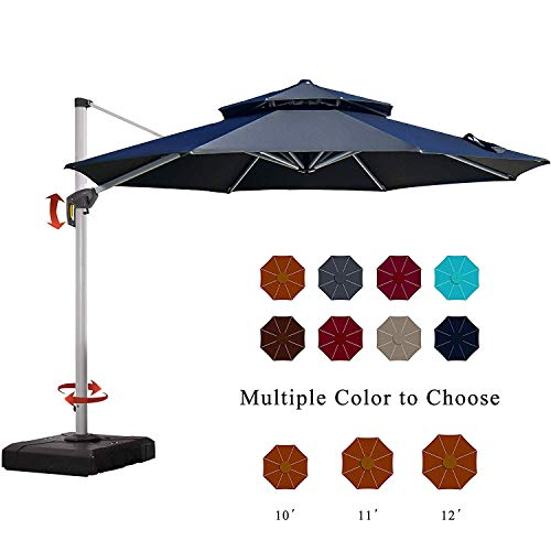 PURPLE LEAF 11 Feet Double Top Deluxe Patio Umbrella Offset Hanging Umbrella Outdoor Market Umbrella...