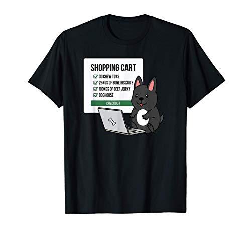 ショッピングカートフレンチ・ブルドッグ犬 Tシャツ