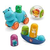 Fisher-Price Movimientos Kit de juego con bola león, cochecito hipopótamo y balancín de animales, juguete para bebés +9 meses (Mattel HFJ94)
