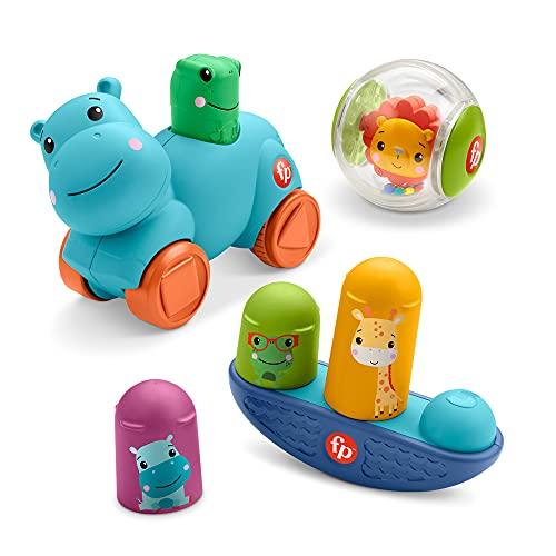 Fisher-Price Movimientos Kit de juego con bola león, cochecito hipopótamo y balancín...