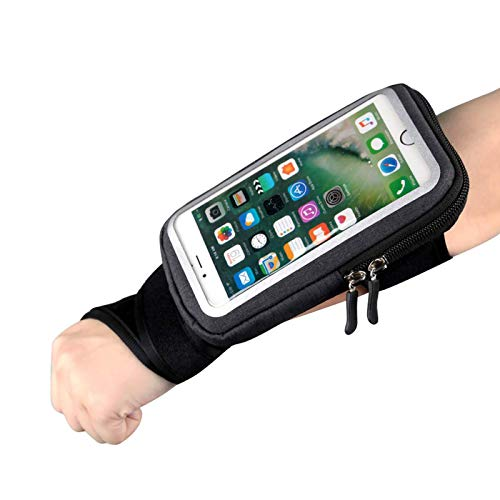 Wrist Bag Forearm Band Cell Phone Holder, Riding Wristband Pouch Bag with Key Card Cash Holder for Cycling, Jogging, Exercise, for Smartphone Up to 6 Inchs