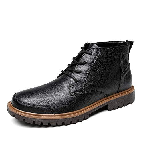 JISHIYU Los Hombres de Moda Las Botas del Tobillo de Luz Diaria Botas próspero y Alto-Top (cálido Terciopelo Opcional) (Color : Negro, Size : 41 EU)