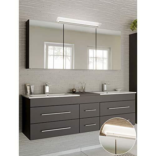 Lomadox Badmöbel Waschtisch Set in anthrazit, Doppel-Waschtisch mit Unterschrank, 2 Waschbecken, 140cm LED-Spiegelschrank