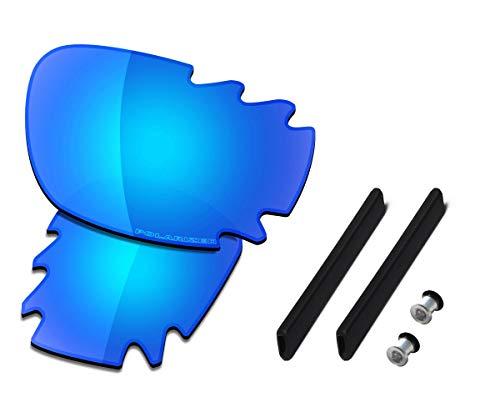 Saucer Premium-Gläser und Gummi-Sets für Oakley Jawbone belüftete Rennjacke., (High Definition - Gletscherblau polarisiert), Einheitsgröße