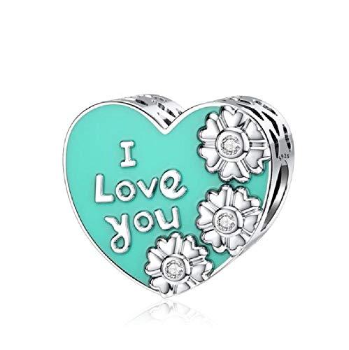 BAIYANG Encantos en Forma de corazón Plata de Ley 925 Cuentas de Amor Se Ajustan a los encantos de Pandora Plata 925RegaloOriginal deldía de San Valentín