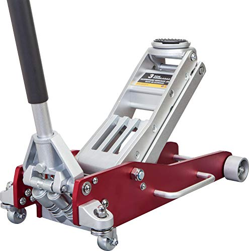 BIG RED AT830003XLR Torin Low Profile Economic Aluminum Service/Floor Garage Jack with Quick Lift Pump, 3 Ton (6,000 lb) Capacity, Red