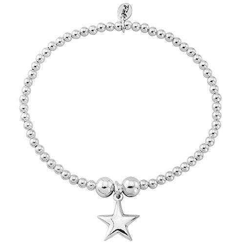 Trink Brand Puff Star Sterling Silver Beaded Charm Bracelet