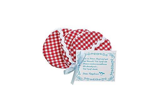 3er-Pack: Wiederverwendbare Wattepads aus Stoff Reinigungs Pads Abschminkpads Baumwolle 6 cm Durchmesser Waschmaschinen Geeignet Rot Weiß Kariert Fair Trade Ringelsuse