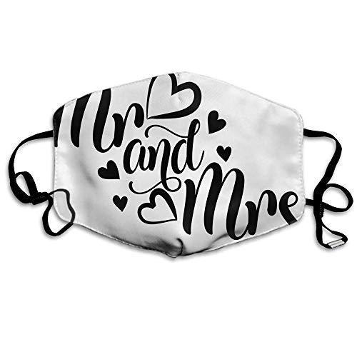 De heer En Mevrouw Mond Cover Slogan Liefde Brief Huwelijk Vrouw Romantische Zwarte Oor Loops Gezichtsbescherming Mond Sjaal
