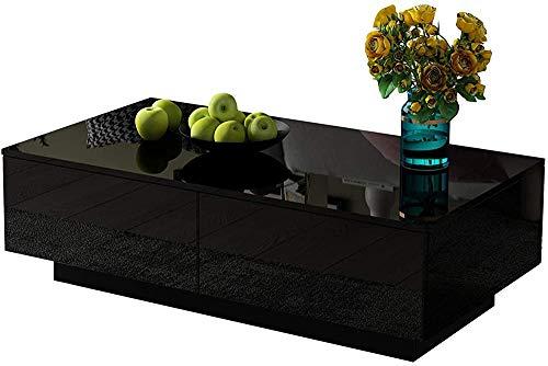 En cuanto al mobiliario de oficina en casa, mesa de centro rectangular mesa de centro moderna de alto brillo con 4 cajones de almacenamiento,Black
