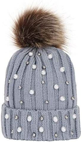 Zrong Fashion Winter Children Knitted Beanie Hat Warm Pompom Caps for Kids Girls Boys Casual Hats 14cm-24cm (Color : Gray)