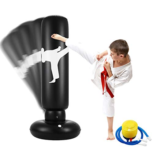 Famiry Punching Bag for Kids, 63 Inch Freestanding Boxing Inflatable Punching Bag for Kids , Bounce Back for Practicing Karate, Taekwondo, MMA, Fitness Freestanding Boxing Bag (Air Pump Included)