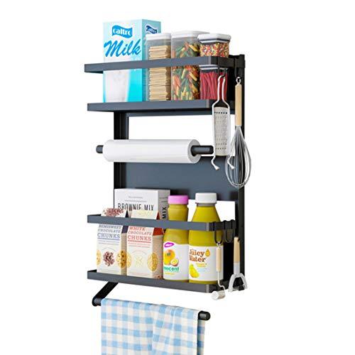JYQ-SZRQ Especiero Magnético para Nevera Organizador De Refrigerador De 3 Niveles, Estante Lateral Plegable para Colgar, Soporte De Rollo De Cocina, Papel Que Incluye 5 Ganchos, Negro