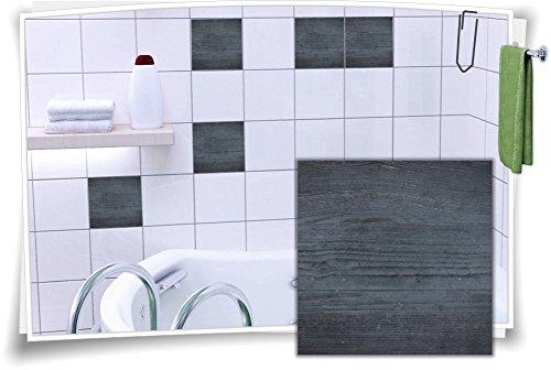 Medianlux Fliesenaufkleber Fliesen Aufkleber Holz Baum Kiefer Fichte Bad WC Küche Kachel Imitat Deko Holzimitat, 8 Stück, 10x10cm