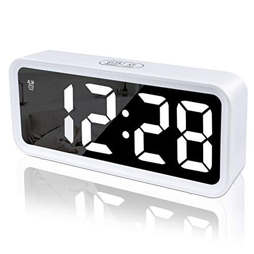 Wecker,Digitaluhr,Digital Wecker Uhr Mit Großer LCD Display Datum Und Temperatur Anzeige Mit Snooze Und Nachtlicht Funktion Für Kinder, Für Zuhause, Schlafzimmer, Badezimmeruhr Und Büro (Weiß)