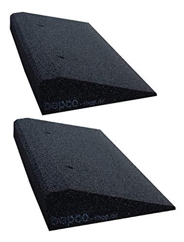 bepco Bordsteinkanten-Rampe-Set (2 Stück) 40-100 mm aus Gummifasern (schwarz) - Auffahrrampe - Türschwellenrampe mit eingelagerten Unterlegscheiben zur Befestigung (50 x 25 x 8 cm)