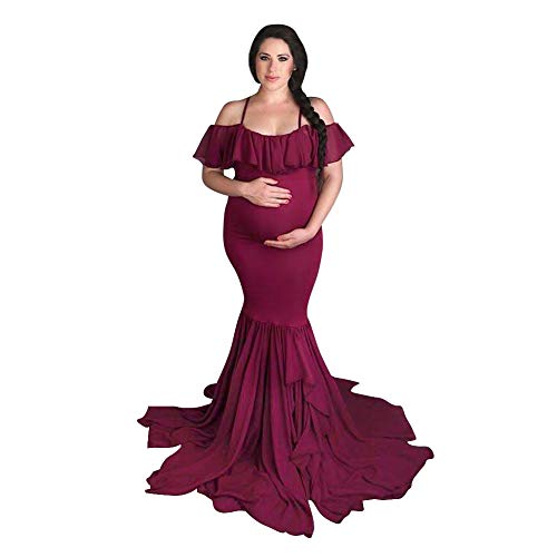 Women Off Shoulder Ruffle Spaghetti Strap Tired Mermaid Maternity Dress Strapless Baby Shower Elegant Fitted Chiffon Photography Gown Slim Fit Wedding Maxi Pregnancy Dress for Photo Shoot Wine Red M