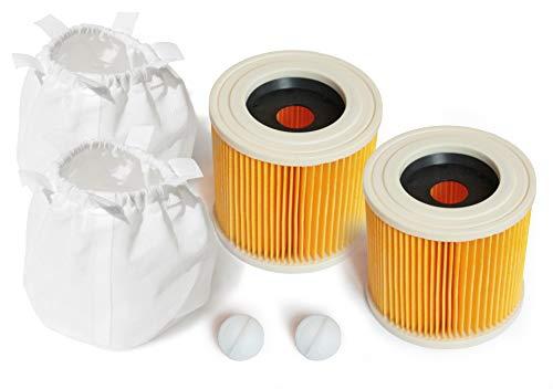 MI:KA:FI 2x Patronenfilter mit 2x Filterschutz | für Kärcher Mehrzwecksauger + Nass-/Trockensauger + Waschsauger | WD2 + WD3 + WD3.200 + WD3.300 M + WD3.500 P + SE 4001 + SE 4002 | wie 6.414-552.0