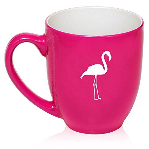 16 oz Hot Pink Large Bistro Mug Ceramic Coffee Tea Glass Cup Flamingo