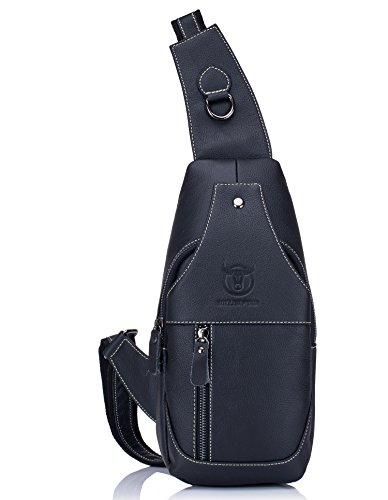 BULLCAPTAIN Genuine Leather Men Bags Shoulder Sling Crossbody Bag...