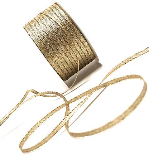 Goldband BROKATBAND 50m x 3mm Gold Dekoband SCHLEIFENBAND Brokat