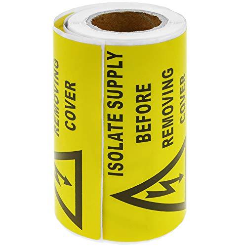 BeMatik - Rollo bobina de 100 etiquetas adhesivas para advertencia de riesgo...