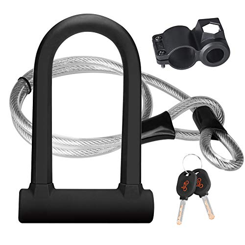DINOKA Bike U Lock - 16mm Heavy Duty Security U Cable Bike Lock with 4ft Flex Bike Cable and Sturdy Mounting Bracket for Road Bike Mountain Bike Electric Bike Folding Bike