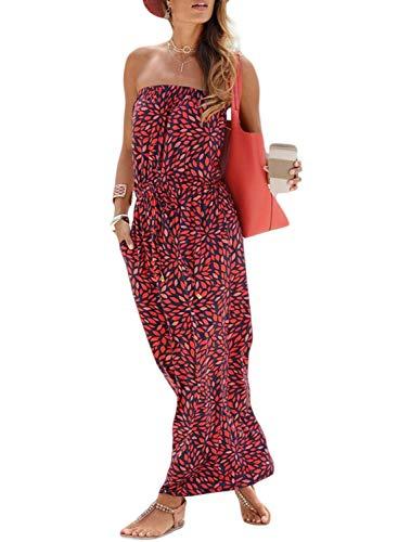 Ancapelion Women's Off Shoulder Summer Beach Floral Long Maxi Dress with Pockets Red Medium