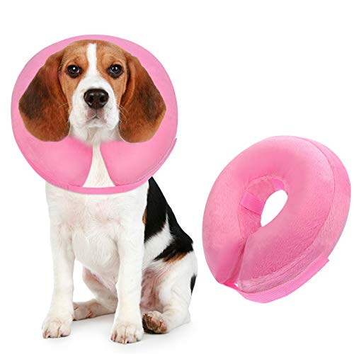 Inscape Data Inflatable Dog Cone for After Surgery, ProtectiveDogComfy Cone Collar Soft ComfortableRecoveryPet Collar for Dogs and Cats