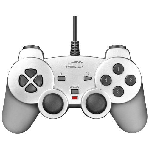 Speedlink Strike Gamepad für den Computer (Vibrationsfunktion, PC-Controller mit USB) silber
