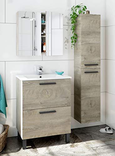 Miroytengo Pack Mueble baño con Lavabo, Columna y Armario con Espejo Color Roble Alaska Industrial Lavabo Incluido