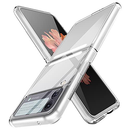 NEWZEROL Schutzhülle Kompatibel für Samsung Galaxy Z Flip 3 5G [Mit Anti-Rutsch Streifen] [Vollständige Abdeckung] [Hartrahmen] [Stoßdämpfung],Harte PC Schutzhülle für Z Flip 3 5G - Transparent